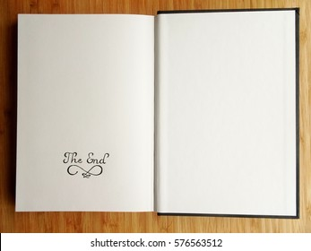 "The End / A sketchbook opened on the last page with ""The End"" written by pencil."