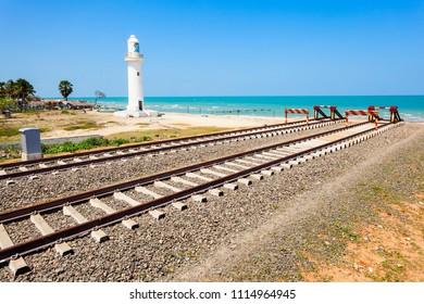 The end of Talaimannar railway track, Sri Lanka. Talaimannar is located on the Mannar Island and about 18 miles from Dhanushkodi indian town.