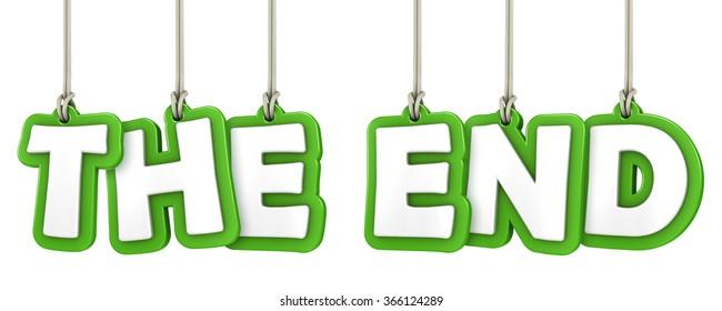 THE END text hanging letters on white background