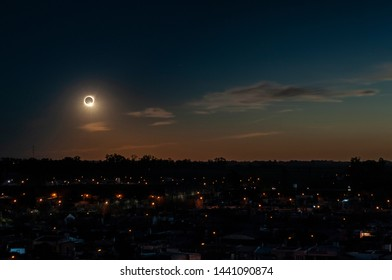 The end of the totality phase of July 2, 2019 total solar eclipse as seen from the city of Firmat, in the Southeast of Santa Fe, Argentina.