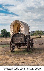 End view of a covered chuck wagon in west Texas on Fort Davis