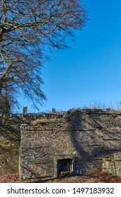 An end wall and fireplace of what used to be the Waiting room at Colliston Railway Station near Arbroath, Angus in Scotland.