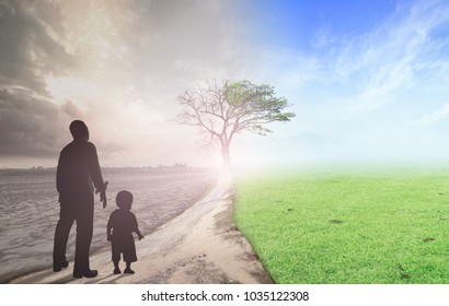 End of the World concept: Father and child standing between climate worsened with good atmosphere
