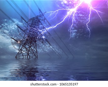 End of the World. Flood, High Voltage Poles and Lightning