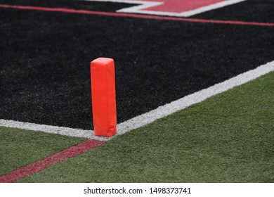 A end zone marker at a high school football field.