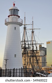 The Endeavour replica displayed at the Australian National Maritime Museum in Darling Harbour, Sydney Australia