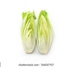 Endive (Cichorium endivia) cut in half, isolated on white.