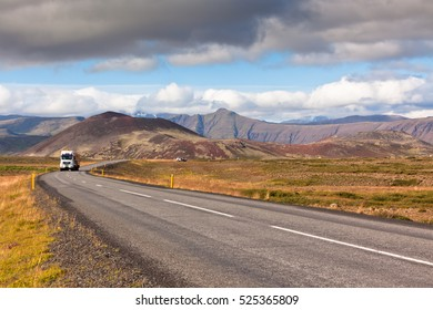 Endless Highway through Icelandic landscape. Horizontal shot