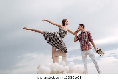 Endless love. Ballet dancers falling in love. Romantic relations between ballerina and ballet partner. Ballet couple into love relations. Couple in love. Elegance in every move.