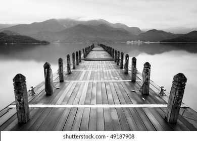 Endless mist lake-black and white