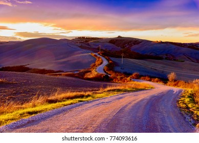 endless road at sunset in the countryside