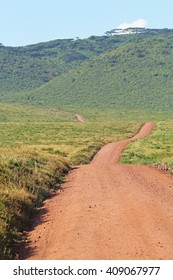 Endless road surrounded by green savannah in Ngorongoro Conservation Area, Tanzania