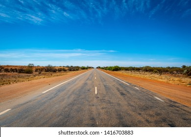 Endless straight road in Western Australia close to the Billa bong Roadhouse