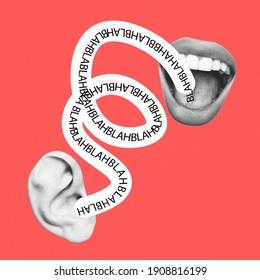 Endlos spricht über nichts. Frauenmund spricht mit männlichem Ohr. Modernes Design, zeitgenössische Kunstcollage. Inspiration, Idee, trendiger urbaner Zeitschriftenstil. Negativer Platz zum Einfügen von Text oder Werbung.