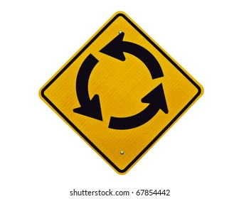Endless traffic circle loop caution sign.