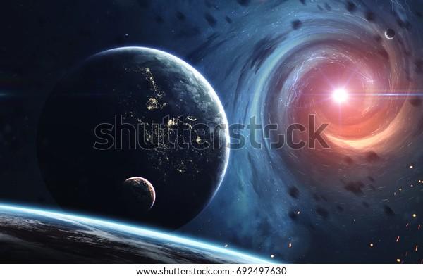 Endloses Universum, Science-Fiction-Bild, dunkler, tiefer Raum mit riesigen Planeten, heiße Sterne, Sternfelder. Unglaublich schöne kosmische Landschaft . Von der NASA bereitgestellte Elemente dieses Bildes