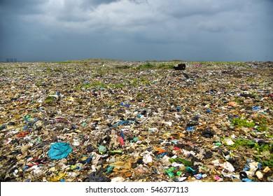 Endless waste trash garbage dumping ground