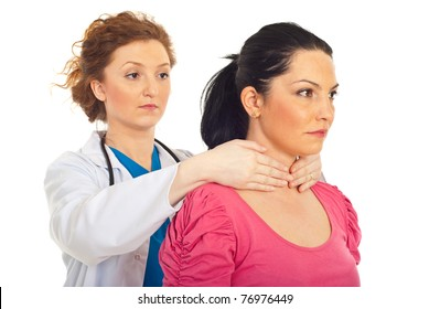 Endocrinologist examine thyroid woman (Maneuver Hazard) isolated on white background