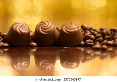 Endorphin, caffeine concept - chocolate and coffee beans background