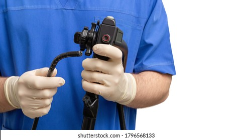 Endoscope in the hands of doctor. Medical instruments used in gastroscopy.