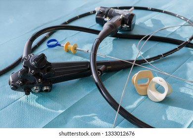 The endoscope, the mouthpiece and the biopsy forceps