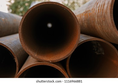 Ends Of Natural Gas Pipes In Stack