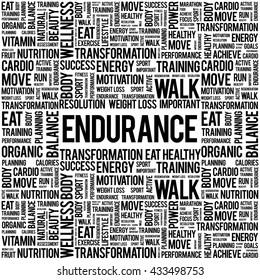 ENDURANCE word cloud background, health concept