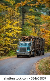 Enemy of the forest, A logging truck hauling its load out of the woods.