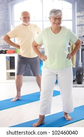 Energetic elderly couple doing exercises in the gym.