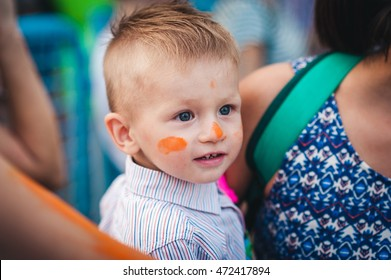 Energodar, Ukraine, August 10, 2016. People during Festival of colours Holi. Holi is traditional holiday of India