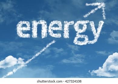 Energy cloud word with a blue sky