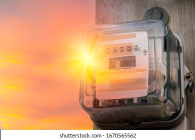 Energy concept. Watthour meter of electricity for use in home appliance. Electronics power meter measuring power usage. Watt hour electric meter measurement tool.