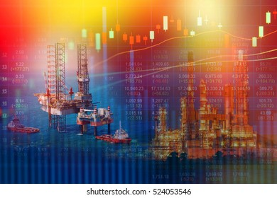 Energy crisis concept with oil rig and oil refinery industry background,Double exposure.