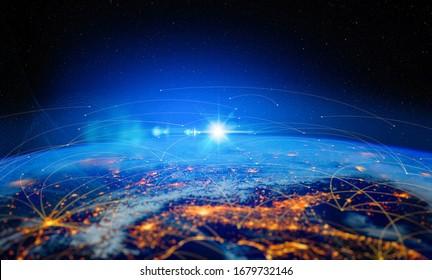 Energy Digitalization and Communication technology for internet business. Global world network and telecommunication on earth and  IoT. Elements of this image furnished by NASA