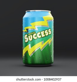 Energy drink can with an Instant Success logo and droplets. 3D illustration