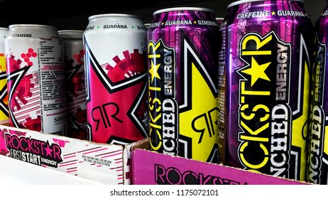 Energy Drinks - high-sugar high-caffeine sodas, East Sussex, England, UK, Europe, September 2018
