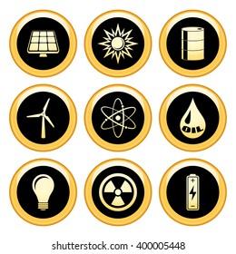 Energy & Eco Icons Gold Icon Set. Raster Version