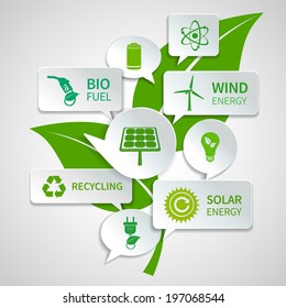 Energy and ecology paper speech bubbles business infographics design elements with green leaf background concept  illustration