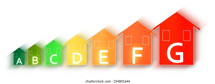 Energy Efficiency - Concept image with colored houses isolated on white background