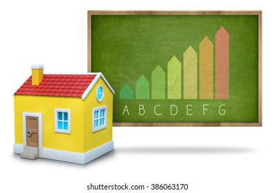 Energy efficiency concept on blackboard