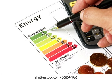 Energy efficiency concept with energy rating chart