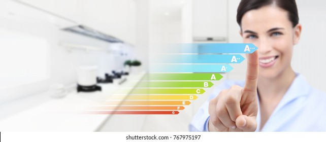 energy efficiency smiling woman hand touch screen with colored symbols on interior room background web banner and copy space template