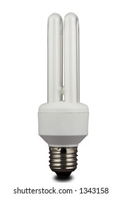 An energy efficient bulb. Isolated on white with path.