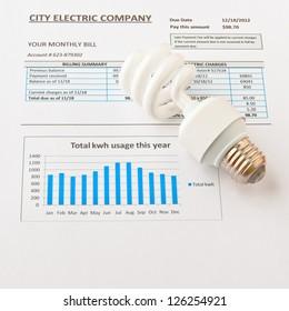 Energy efficient CFL bulb on electric bill. Energy efficient house concept.