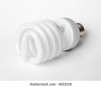 energy efficient fluorescent light bulb on white