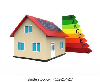 Energy efficient house with solar panel, 3d rendering, on white background