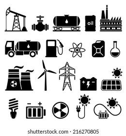 Energy, electricity, power icon set