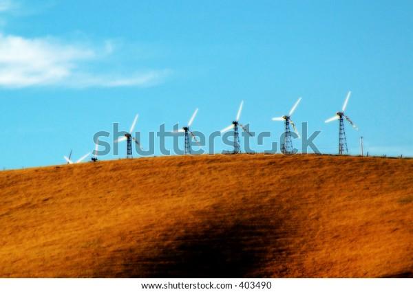 Energy generating windmills, Altamont Pass, CA (artisic effect)