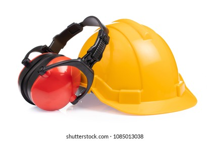 Energy headphones with workwear Safety Hard Hat/Helmet isolated on white background