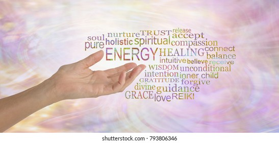 Energy Healing Word Tag Cloud - female hand gesturing towards the word ENERGY surrounded by a relevant word tag cloud on a pink feminine flowing energy formation background